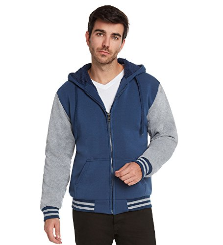 Maximos Men's Sherpa Lined Varsity Full Zip Hooded Jacket-Na