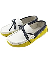 Boys Girls Fashion Comfort Color Block Bowknot Leather Moccasin Loafer Shoes