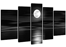 100% Hand-painted  Wood Framed on the Back Oil Wall Art Sea White Full Moon Night Home Decoration Abstract Landscape Oil Painting on Canvas 5pcs/set Mixorde