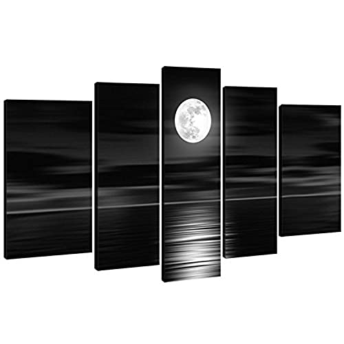 Bon 100% Hand Painted Wood Framed On The Back Oil Wall Art Sea White Full Moon  Night Home Decoration Abstract Landscape Oil Painting On Canvas 5pcs/set  Mixorde