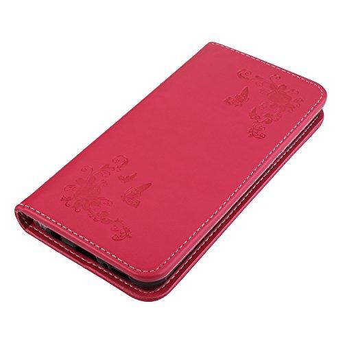 Coque Samsung Galaxy S9 Fleur, Lomogo Housse en Cuir Portefeuille avec Porte Carte Fermeture par Rabat Aimant Anti Choc Etui de Protection pour Samsung Galaxy S9 - LOHHA10365 Vert Rouge