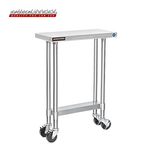 DuraSteel Worktable Stainless Steel Food Prep 30'' x 12'' x 34'' Height With 4 Caster Wheels Work Table- Commercial Grade Work Table - Good For Restaurant, Business, Warehouse, Home, Kitchen, Garage by DuraSteel