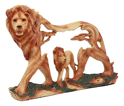 Ebros Large Majestic African Savannah Pride Lion Scene Figurine Sculpture Rustic Faux Wood Collectible Safari Grasslands King Of The Jungle Animal Kingdom Lions And Lionesses Giant Cats Statue