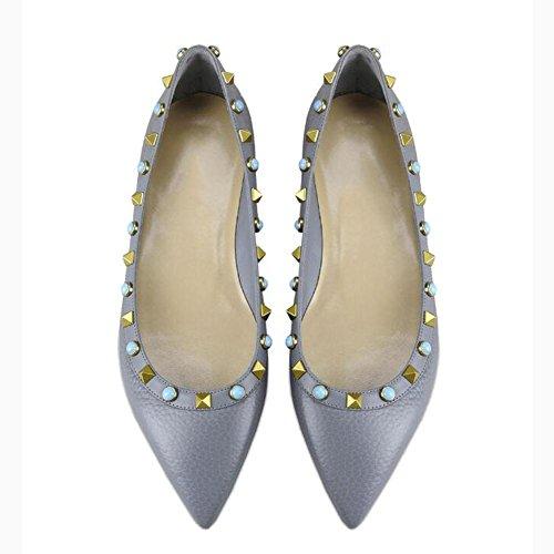 L@YC Mujeres Flat Bottom Pointed Remaches Únicos Zapatos Ballet Primavera y otoño Boca Baja Cómodo Tacones altos Gray
