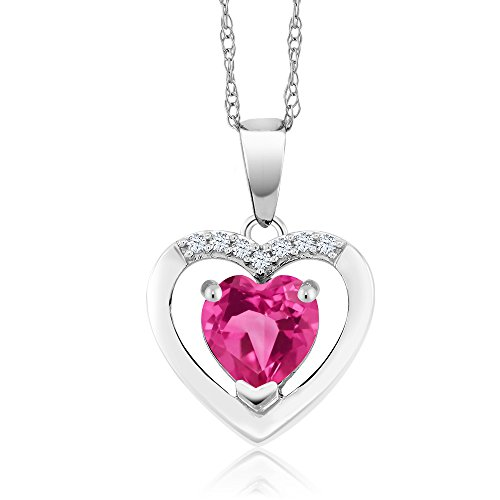 10K White Gold 1.00 Ct Pink Mystic Topaz and Diamond Heart Pendant