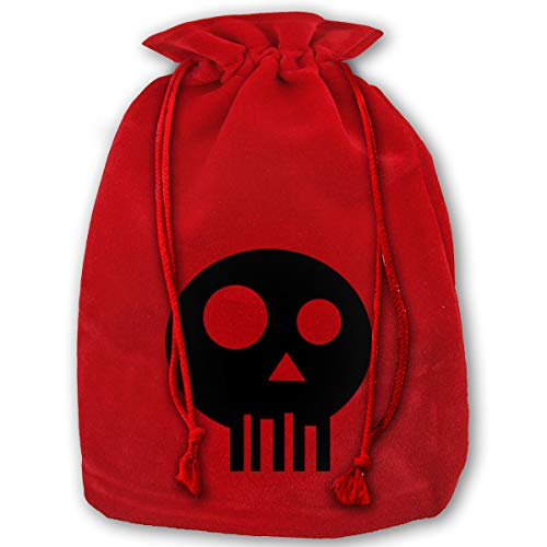 TPSXXY Simple Skull Clipart Large Christmas Drawstring Bag Santa Present Bag Basket Gifts Sack (Basket Christmas Clipart)