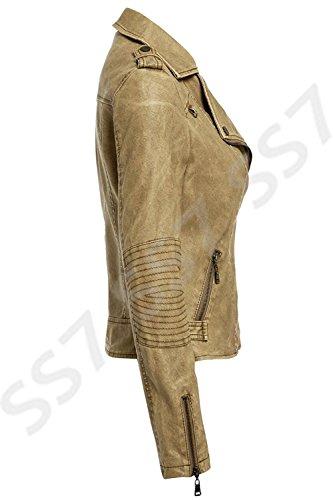 SS7 motard Naturel Tailles 8 cuir Femmes simili 16 naturel Veste pour rTUCrEq