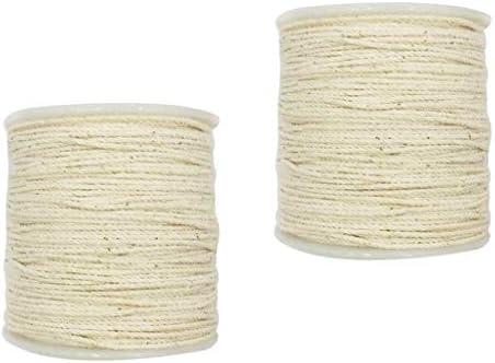 2 Piezas Cordon de Algodon Trenzado Rústico Cuerda Torcida Blanco ...