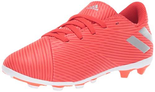 adidas Unisex Nemeziz 19.4 Firm Ground Soccer Shoe, Active Silver Metallic/Solar Red, 1 M US Little Kid