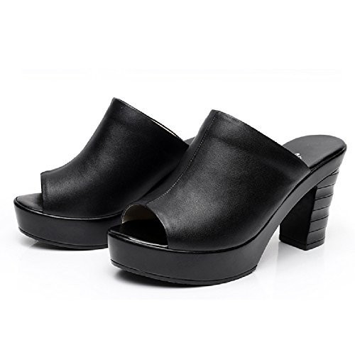 Btrada Womens Casual Thick-soled Slide Sandals Fish Mouth High Heel Platform Shoes Black 9AkczS