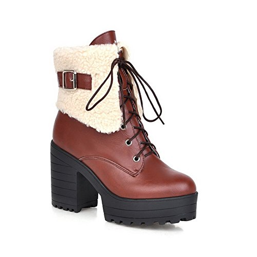AllhqFashion Womens Lace-up Round Closed Toe High-Heels PU Low-top Boots Brown MovTSNC6ti