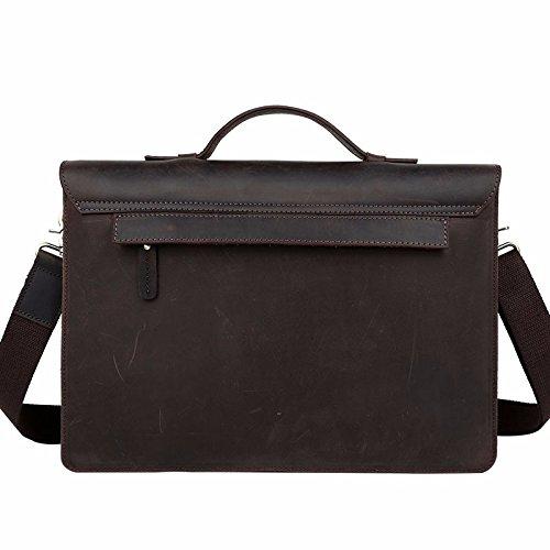 ZHUDJ Tide Cow English Retro College Wind Men'S Leather Casual Handbag Head Layer Cowhide Business Briefcase, Dark Brown 11483