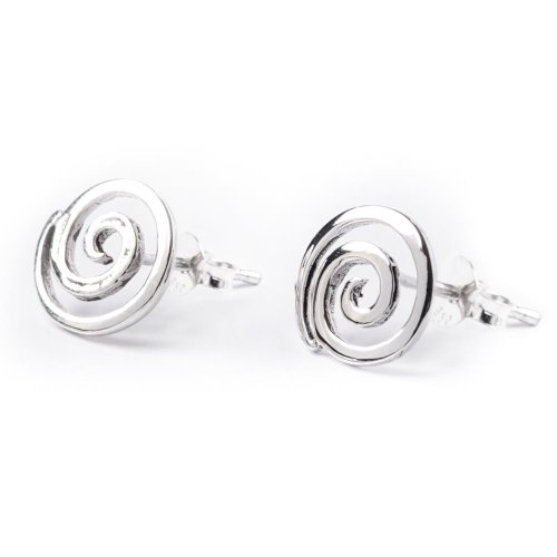 81stgeneration Women's .925 Sterling Silver Spiral Small Round Studs (Small Swirl Earrings)