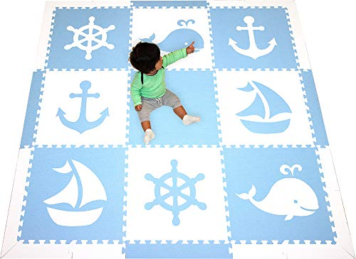 SoftTiles Foam Children's Playmat- Nautical Theme/Ocean Theme- Interlocking Large 2 Foot Tiles for Baby Nursery/Kids Playrooms- 6.5 x 6.5 ft.- (Light Blue, White) SCNAUWS (Best Baby Nursery Websites)