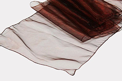 """SARVAM FASHION 12"""" x 108"""" in Organza Table Runners for Wedding Reception or Party Decoration (10, Burgundy)"""