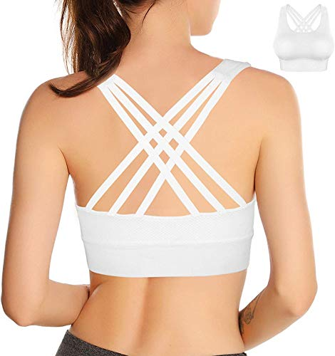 Double Couple Strappy Sports Bra for Women Crisscross Back Yoga Bra Activewear Fitness Bra (White, Large)