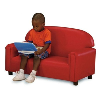 (Brand New World Preschool Premium Vinyl Upholstery Sofa -Red)
