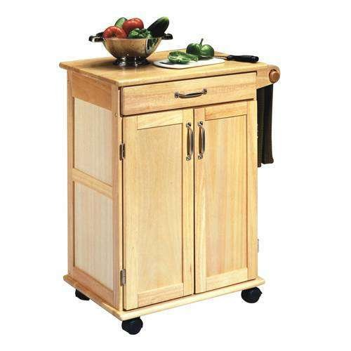 Traditional Style Kitchen Cart 2 Door Cabinet Durable Solid
