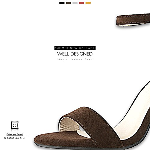 Party Women's DailyShoes with Shoes Ankle Pumps Strap Toe Heel Wedding Open Suede Women's Brown Evening Chunky Buckle Sandal pqdwOqU