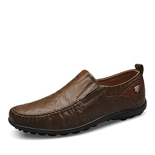 Deporte Suela Genuino Hombre De 45 Qiusa Antideslizante Eu Zapatillas Marrón Para Tamaño Formal Casual color Con Cuero Negro WnzfEf