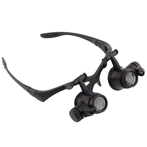 amzdeal Leselupe Lupenbrille Vergrößerungsglas 10X 15X 20X 25X schwarz
