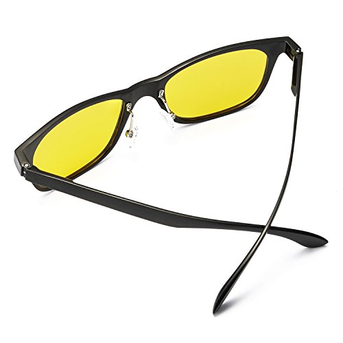 Reflectante Grandes Ultraligero Conduccion Visión Amarilla amp; UVB Anti 100 Nocturna para HD de Negro Gafas Polarizadas Lente Hombre Protección UVA Metal fn7Oqf1