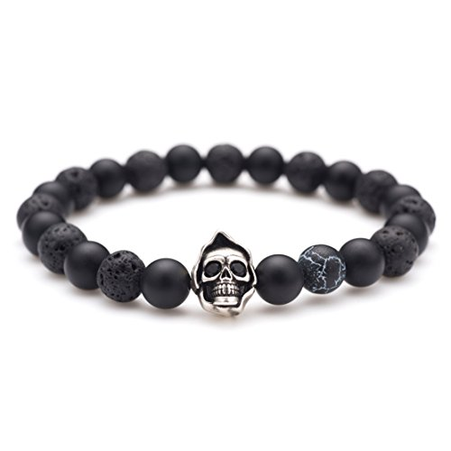 Bracelet Metal Bead (Karseer Black Matte Onyx and Lava Energy Stone Beaded Stretch Bracelet, Old Silver Grim Reaper Skull Cloak Charm with Dark Lightning Bead Bangle, Handmade Personalized Jewelry Gift Unisex, 7
