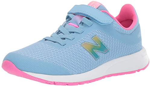 New Balance Girls' 455v2 Hook and Loop Running Shoe, Summer Sky/Light Peony, 11 W US Little Kid