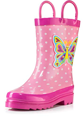 Girls Pink Butterfly Polka-Dot Rain Boots - Size 10 (Toddler)