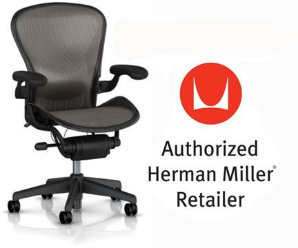 Herman Miller Aeron Chair Highly Adjustable with Lumbar Support Pad with C7 Hard Floor Casters - Medium Size (B) Graphite Dark Frame, Classic Dark Lead Pellicle Mesh Home Office Desk Task Chair