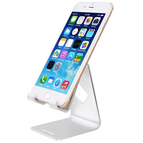 HOTOR Solid Aluminum Desk Desktop Stand for iPhone 6 6 plus 4 4s 5 5s 5c iPad 2/3 air mini/Samsung Galaxy S3/5 HTC ONE M7 Blackberry Tablet Tab Google Nexus Lumia and other Smartphone,Silver