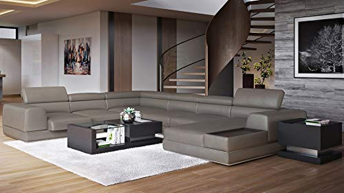 Zuri Furniture Modern Wynn Slate Leather Sectional Sofa with Adjustable Headrests - Right Chaise in USA