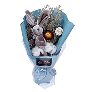 Forthery Artificial Flowers Vintage Bouquet for Home Wedding Decor with Bunny Rabbit with Bunny Rabbit 24