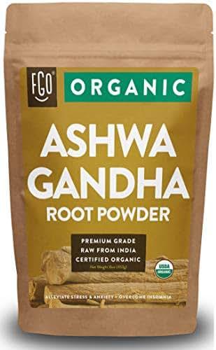 Organic Ashwagandha Root Powder | 16oz Resealable Kraft Bag (1lb) | 100% Raw From India | by Feel Good Organics