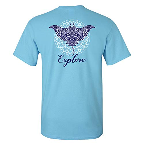 (Southern Charm Explore on a Sky Blue Short Sleeve T Shirt XL)