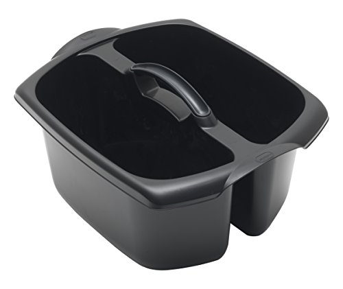 Addis Utility Cleaning Caddy with Twin Compartment and Handle, Black, 32 x 38.5 x 20 cm