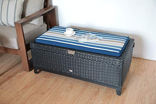 r 3 in 1 Resin Wicker Storage Bench Box with Seat Cushion, Aluminum Frame, Black Rattan and Striped Cushion ()
