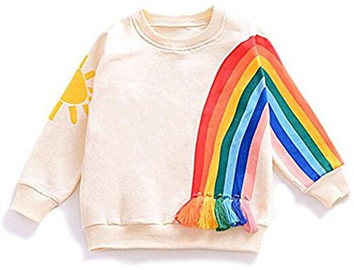 Younger star Baby Girls Autumn Soft Rainbow Top Blouse Long Sleeve Toddler Casual Tops (Rainbow, 2-3 Years)