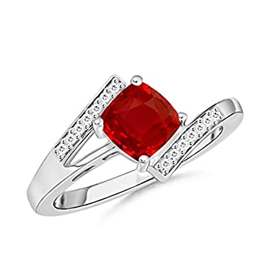 Angara Solitaire Square Ruby Ring With Diamonds in 14k Yellow Gold BXj1BlUR