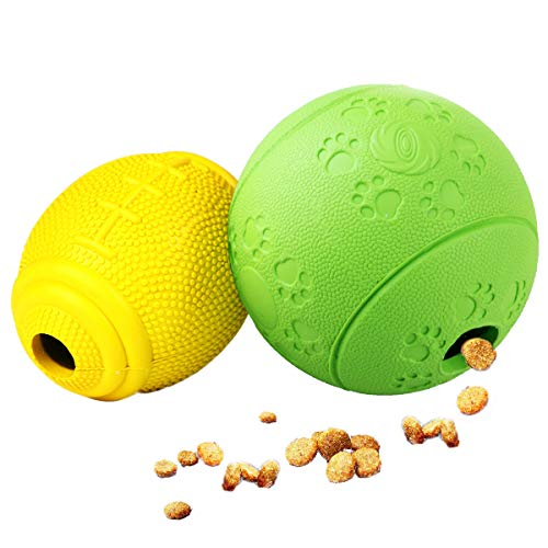 AD Treat Ball - Interactive Dog Toys - Non-Toxic & Durable Rubber Treat Food Dispenser IQ Ball for Pet Puppies and Cat Chasing Chewing Playing - Green Round & Yellow Football (Treat Balls For Dogs)