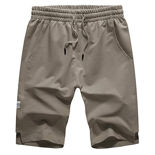 Hurrybuy Mens Elastic Waist Drawstring Summer Workout Shorts with Pockets Khaki ()
