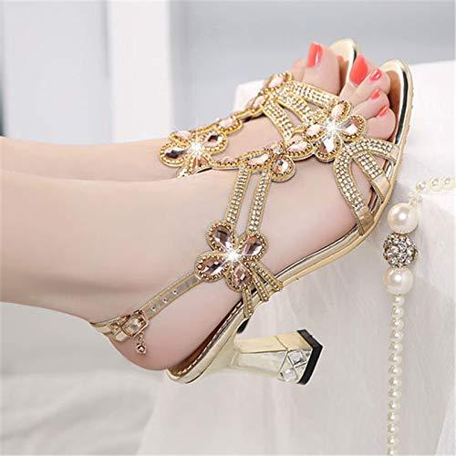 HBDLH Damenschuhe Sommer Diamond Heel 7Cm 7Cm 7Cm Sandalen Mode Outwear Crystal Elegant Dicke Sohle Auf Den Mund Fisch Schuhe 4a7167