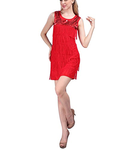 Whitewed Tassel Bead Roaring Roar 20s 20th 20's Outfits Costumes for Women Red