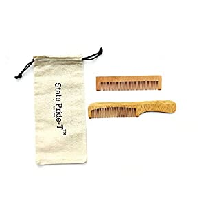 State Pride-T Neem wooden comb for men and women pack of 2 with Free Cotton Pouch