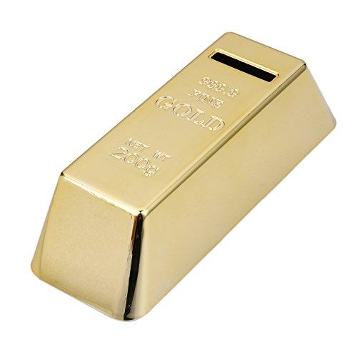 Whitelotous Gold Bullion Bar Piggy Bank Gold Bullion Brick Miniature Coin Bank Saving Money Box