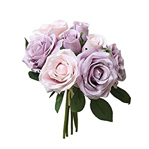 Yamart 8 Pcs Artificial Roses Flowers Real Looking Fake Roses Artificial Foam Roses Decoration DIY for Wedding Bouquets Centerpieces,Arrangements Party Baby Shower Home Decorations 54