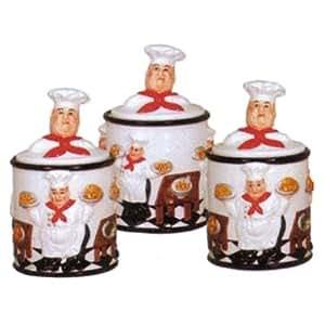 Fat italian chef 3 pc canister set kitchen for Italian kitchen set