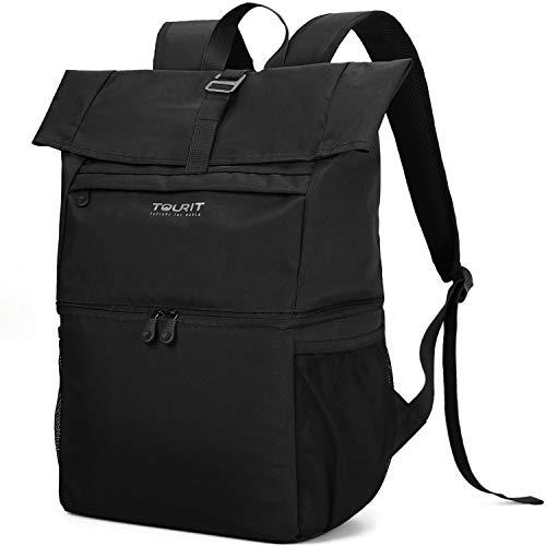 TOURIT Cooler Backpack Large Insulated Lunch Backpack Lightweight Backpack with Cooler Compartment for Men Women to Work Picnic Hiking Beach Park or Daily Trips – Double Decker Backpack