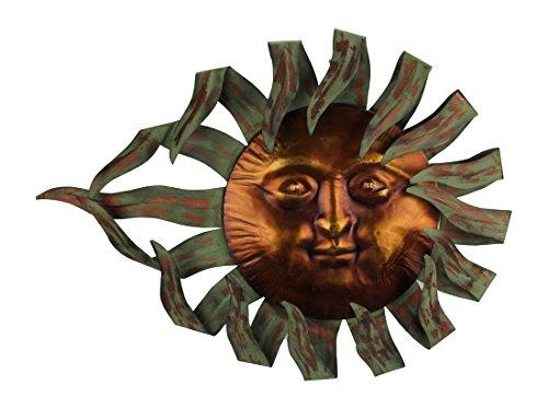 Zeckos Two Tone Metal Celestial Sun Wall Sculpture