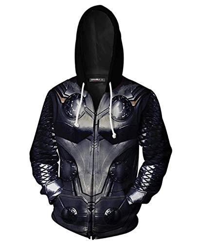 Thor Avengers Endgame Hoodie Tech Jacket Zipper Unisex Superhero Cosplay Costume Quantum 3D Pullover Commemorate Sweatshirt (Thor, X-Large)]()